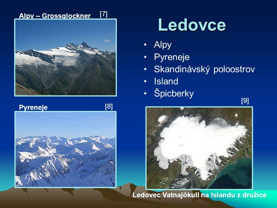 Ledovce Alpy Pyreneje Skandinávský poloostrov Island Špicberky [7]